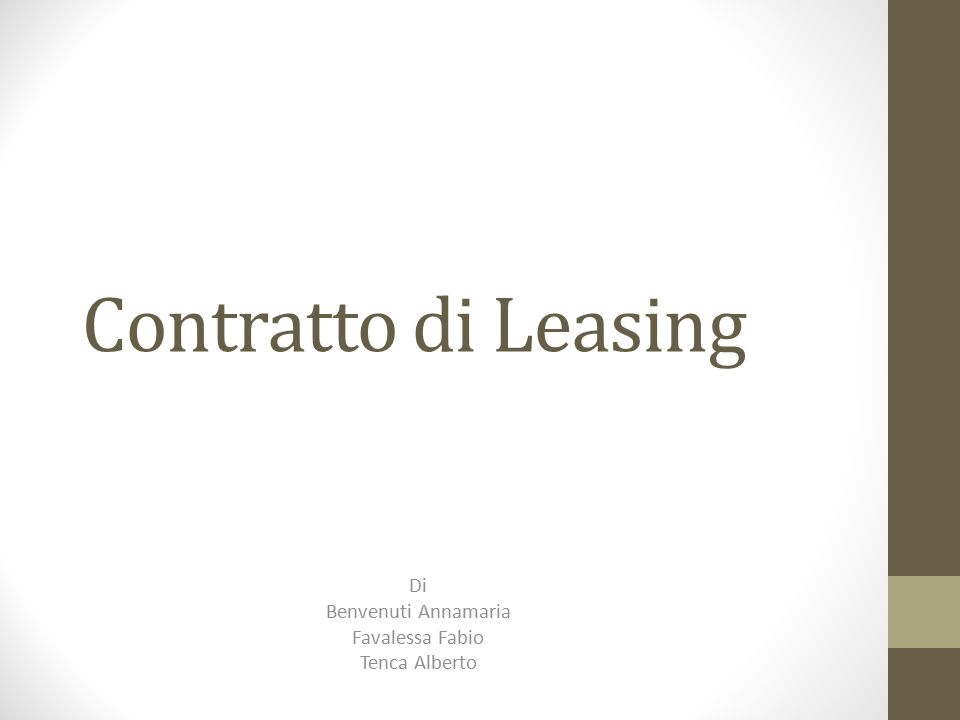 Contratto di Leasing Di Benvenuti Annamaria Favalessa Fabio Tenca Alberto