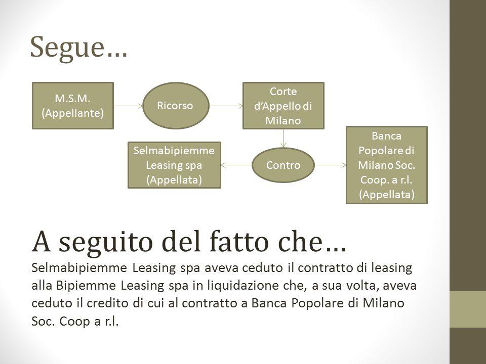 Segue… M.S.M. (Appellante) Ricorso Corte d'Appello di Milano Contro Banca Popolare di Milano Soc. Coop. a r.l. (Appellata) Selmabipiemme Leasing spa (