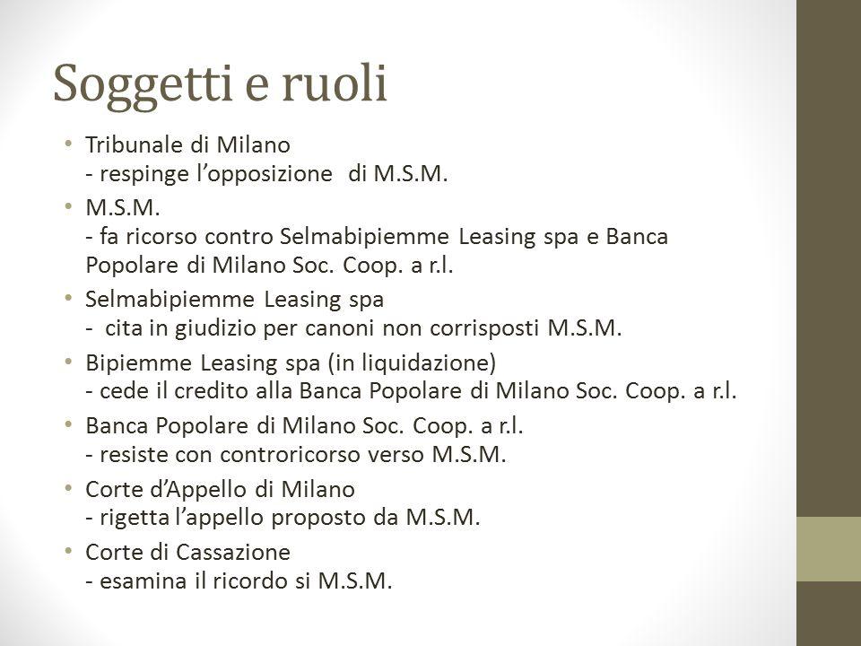 Soggetti e ruoli Tribunale di Milano - respinge l'opposizione di M.S.M. M.S.M. - fa ricorso contro Selmabipiemme Leasing spa e Banca Popolare di Milan