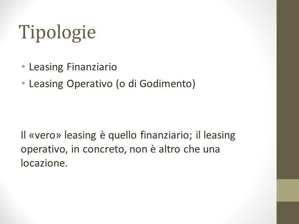 Tipologie Leasing Finanziario Leasing Operativo (o di Godimento) Il «vero» leasing è quello finanziario; il leasing operativo, in concreto, non è altr