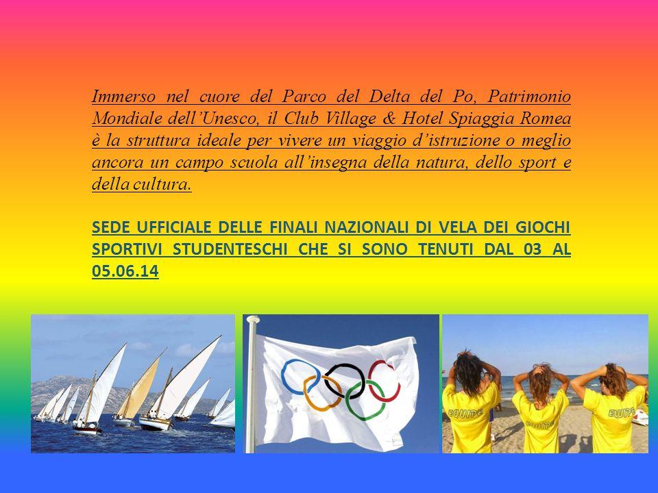Immerso nel cuore del Parco del Delta del Po, Patrimonio Mondiale dell'Unesco, il Club Village & Hotel Spiaggia Romea è la struttura ideale per vivere un viaggio d'istruzione o meglio ancora un campo scuola all'insegna della natura, dello sport e della cultura.