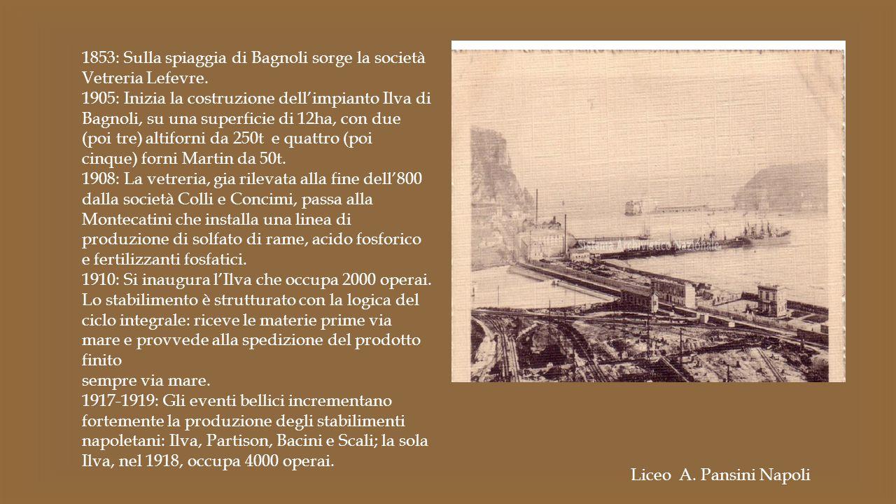 1853: Sulla spiaggia di Bagnoli sorge la società Vetreria Lefevre. 1905: Inizia la costruzione dell'impianto Ilva di Bagnoli, su una superficie di 12h