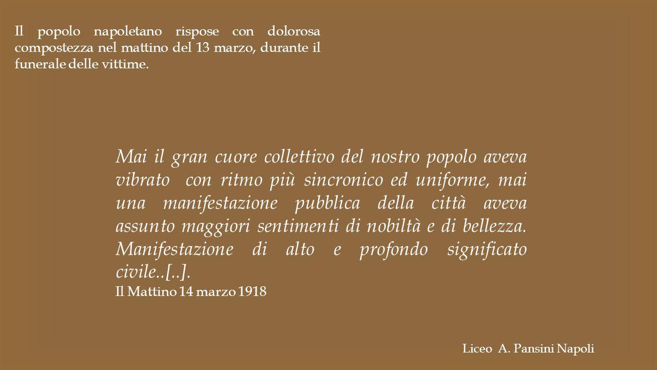 Il popolo napoletano rispose con dolorosa compostezza nel mattino del 13 marzo, durante il funerale delle vittime. Mai il gran cuore collettivo del no