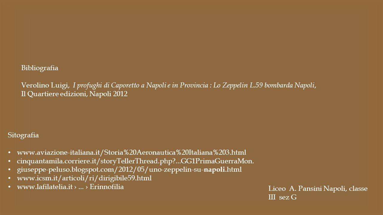 Sitografia www.aviazione-italiana.it/Storia%20Aeronautica%20Italiana%203.html cinquantamila.corriere.it/storyTellerThread.php?...GG1PrimaGuerraMon. gi