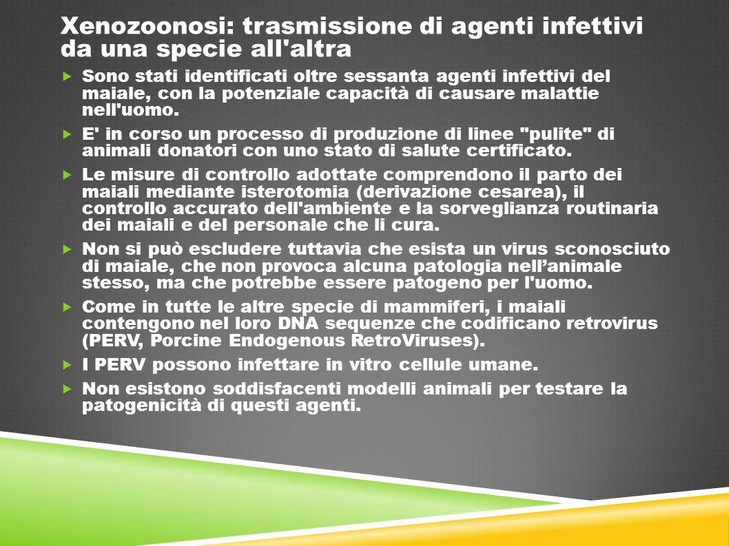 Xenozoonosi: trasmissione di agenti infettivi da una specie all'altra  Sono stati identificati oltre sessanta agenti infettivi del maiale, con la pot