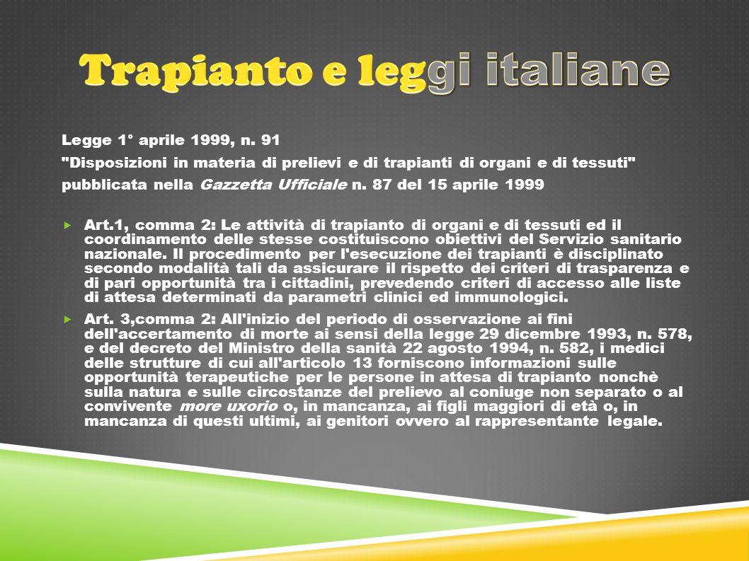 Legge 1° aprile 1999, n. 91