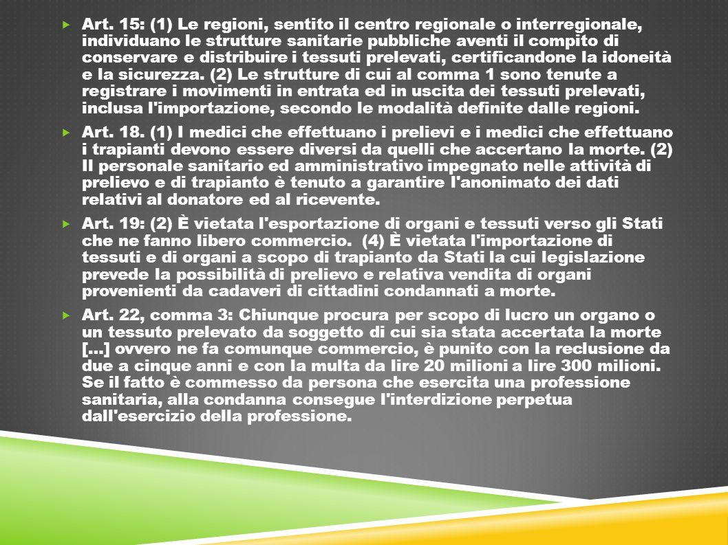  Art. 15: (1) Le regioni, sentito il centro regionale o interregionale, individuano le strutture sanitarie pubbliche aventi il compito di conservare