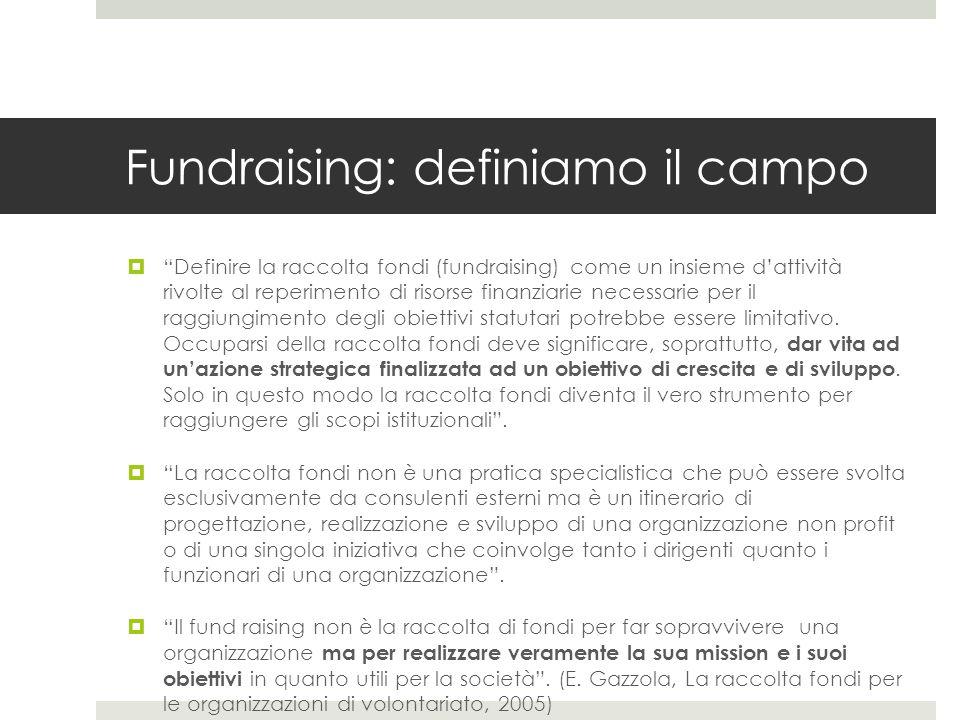 Fundraising: definiamo il campo  Definire la raccolta fondi (fundraising) come un insieme d'attività rivolte al reperimento di risorse finanziarie necessarie per il raggiungimento degli obiettivi statutari potrebbe essere limitativo.