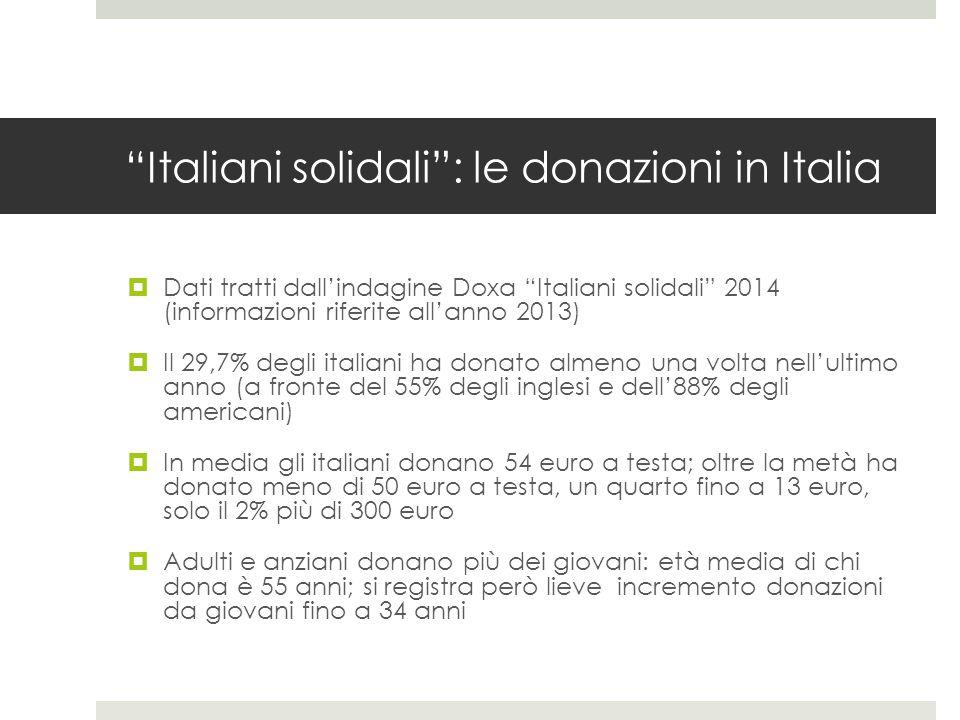 Italiani solidali : le donazioni in Italia  Dati tratti dall'indagine Doxa Italiani solidali 2014 (informazioni riferite all'anno 2013)  Il 29,7% degli italiani ha donato almeno una volta nell'ultimo anno (a fronte del 55% degli inglesi e dell'88% degli americani)  In media gli italiani donano 54 euro a testa; oltre la metà ha donato meno di 50 euro a testa, un quarto fino a 13 euro, solo il 2% più di 300 euro  Adulti e anziani donano più dei giovani: età media di chi dona è 55 anni; si registra però lieve incremento donazioni da giovani fino a 34 anni