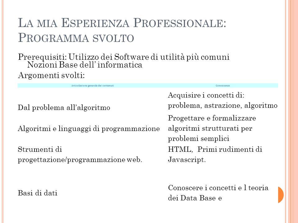 L A MIA E SPERIENZA P ROFESSIONALE : P ROGRAMMA SVOLTO Prerequisiti: Utilizzo dei Software di utilità più comuni Nozioni Base dell' informatica Argome