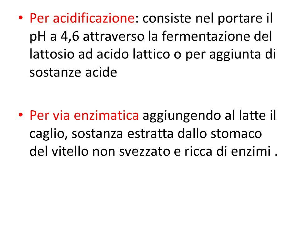 Per acidificazione: consiste nel portare il pH a 4,6 attraverso la fermentazione del lattosio ad acido lattico o per aggiunta di sostanze acide Per vi