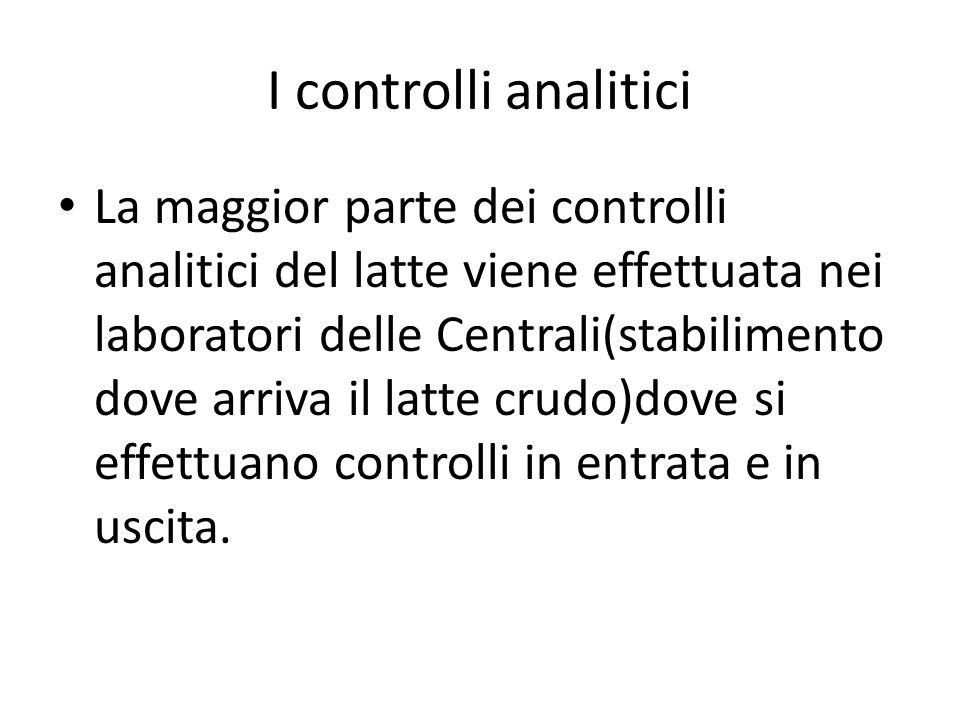 I controlli analitici La maggior parte dei controlli analitici del latte viene effettuata nei laboratori delle Centrali(stabilimento dove arriva il la
