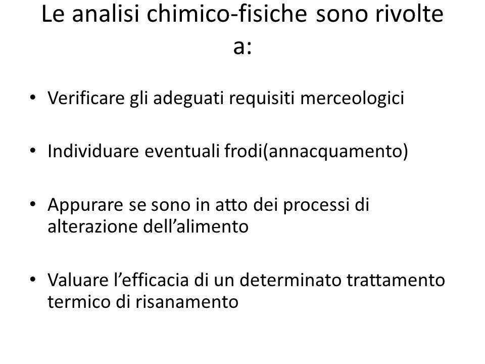 Le analisi chimico-fisiche sono rivolte a: Verificare gli adeguati requisiti merceologici Individuare eventuali frodi(annacquamento) Appurare se sono