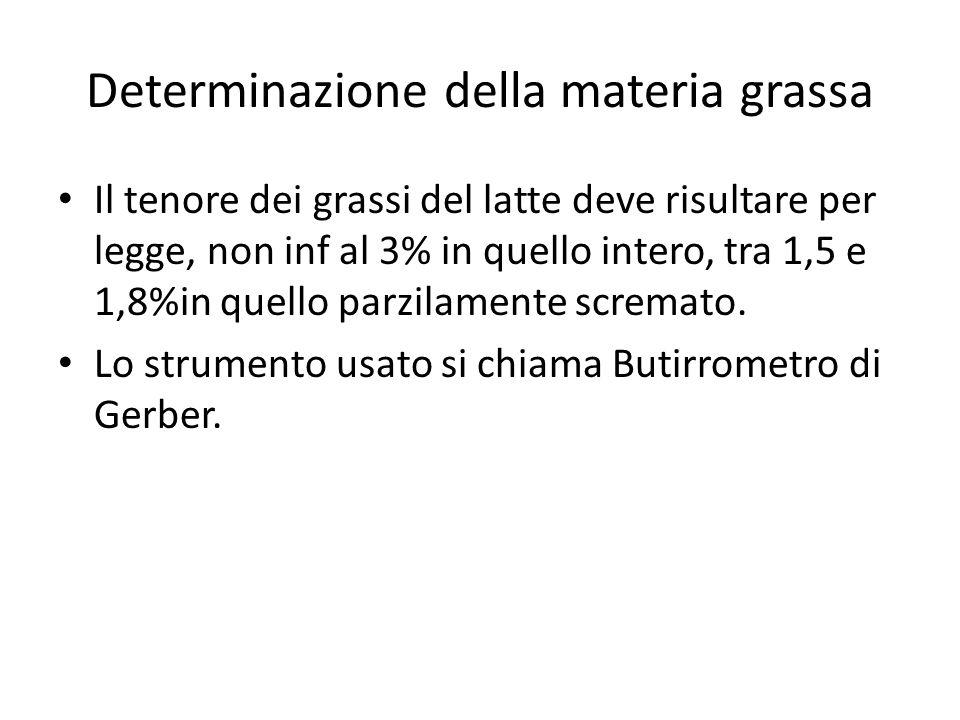 Determinazione della materia grassa Il tenore dei grassi del latte deve risultare per legge, non inf al 3% in quello intero, tra 1,5 e 1,8%in quello p
