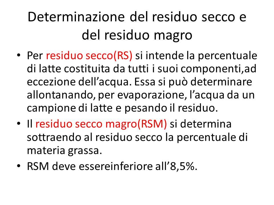 Determinazione del residuo secco e del residuo magro Per residuo secco(RS) si intende la percentuale di latte costituita da tutti i suoi componenti,ad