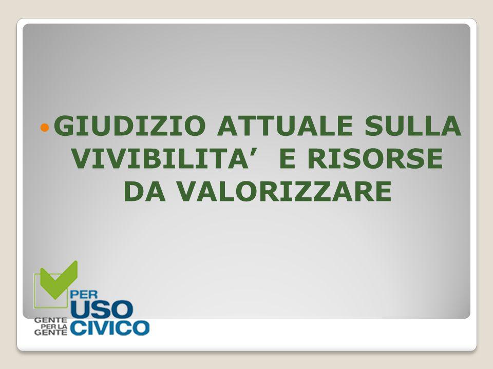 GIUDIZIO ATTUALE SULLA VIVIBILITA' E RISORSE DA VALORIZZARE