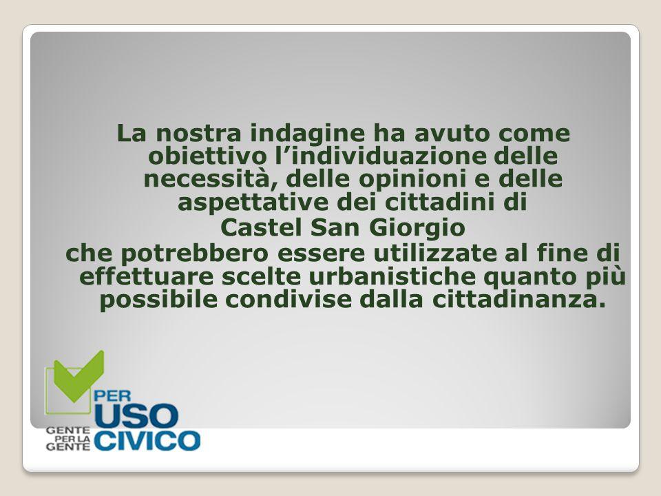 La nostra indagine ha avuto come obiettivo l'individuazione delle necessità, delle opinioni e delle aspettative dei cittadini di Castel San Giorgio ch
