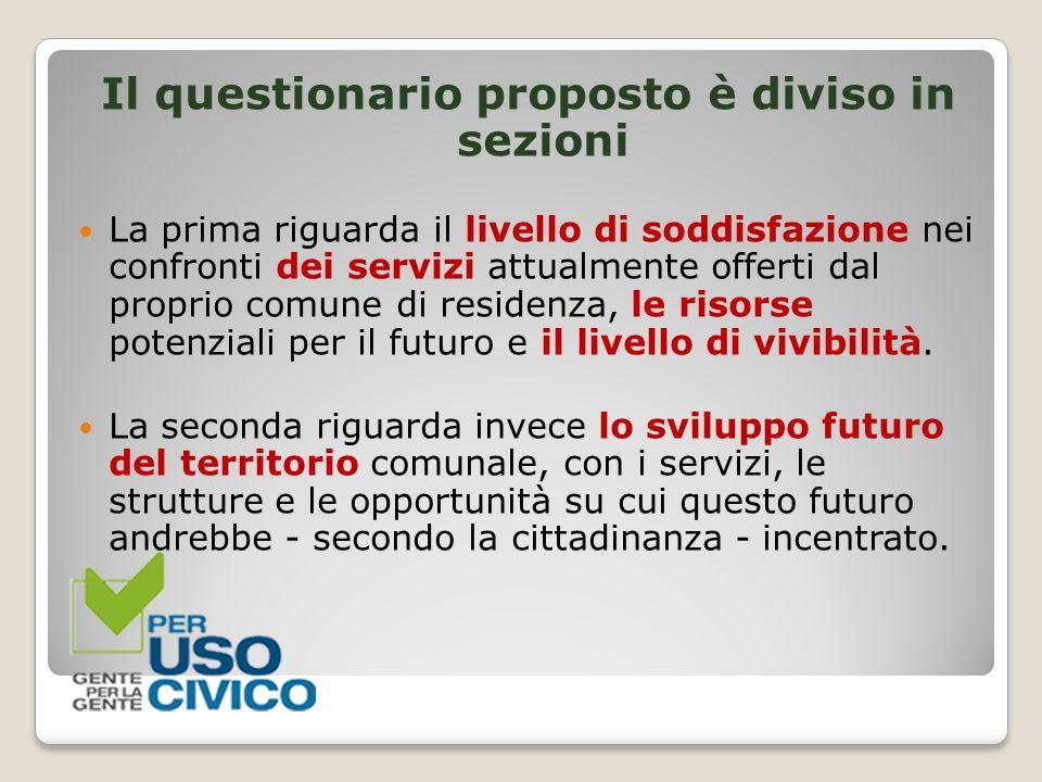 Il questionario proposto è diviso in sezioni La prima riguarda il livello di soddisfazione nei confronti dei servizi attualmente offerti dal proprio c