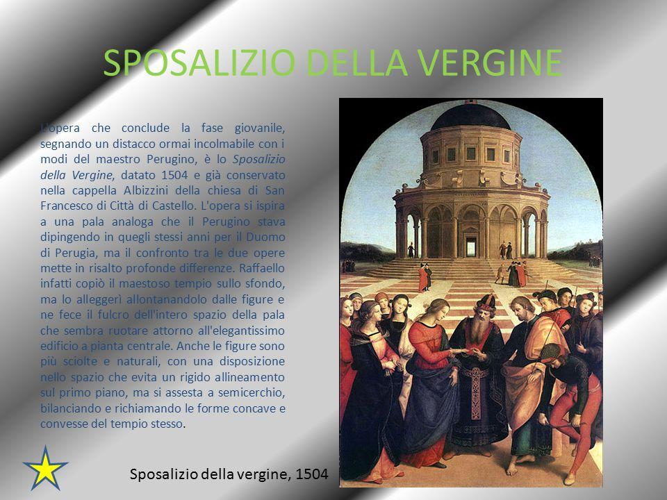 MADONNA DEL BALDACCHINO Opera conclusiva del periodo fiorentino, del 1507-1508, può considerarsi la Madonna del Baldacchino, lasciata incompiuta per la sua repentina chiamata a Roma, da parte di Giulio II.