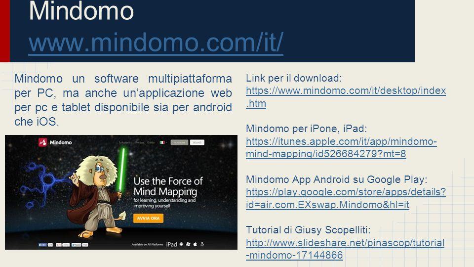 Popplet: ●Tutorial in italiano di Francesca Berengo: http://www.slideshare.net/berengof/ popplet-28429684 http://www.slideshare.net/berengof/ popplet-28429684 ●Video tutorial di Jessica Redeghieri: https://www.youtube.com/watch?v= QEUvvJ5zzH0 https://www.youtube.com/watch?v= QEUvvJ5zzH0 Mindomo: ●Tutorial in italiano di Cinza Bocchi della versione Premium, http://it.scribd.com/doc/138941313/T utorial-Mindomo#scribd.