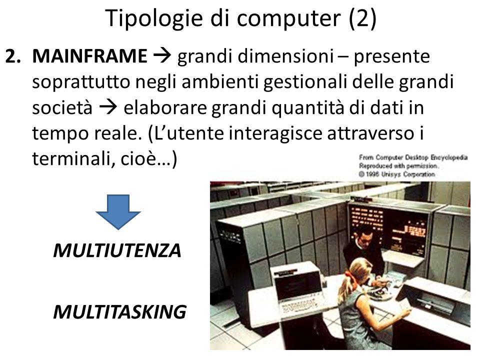Tipologie di computer (3) 3.MINICOMPUTER computer di taglia intermedia tra il mainframe e il computer a singolo utente; computer gestionali, dedicati all elaborazione di dati aziendali, ampiamente utilizzati per aziende medie o piccole (PMI).PMI (Concetto ormai superato.)
