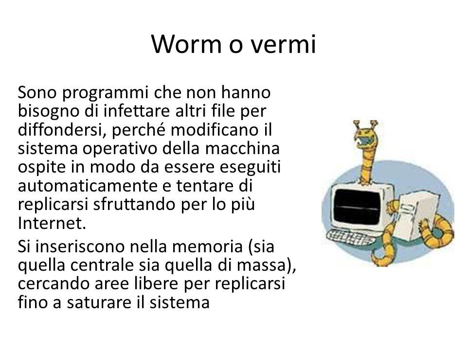 Worm o vermi Sono programmi che non hanno bisogno di infettare altri file per diffondersi, perché modificano il sistema operativo della macchina ospite in modo da essere eseguiti automaticamente e tentare di replicarsi sfruttando per lo più Internet.
