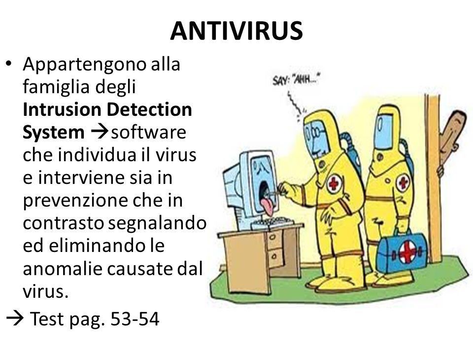 ANTIVIRUS Appartengono alla famiglia degli Intrusion Detection System  software che individua il virus e interviene sia in prevenzione che in contrasto segnalando ed eliminando le anomalie causate dal virus.