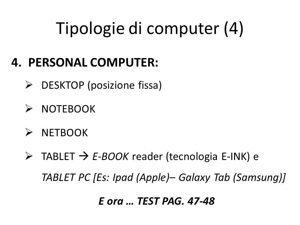 Tipologie di computer (4) 4.PERSONAL COMPUTER:  DESKTOP (posizione fissa)  NOTEBOOK  NETBOOK  TABLET  E-BOOK reader (tecnologia E-INK) e TABLET PC [Es: Ipad (Apple)– Galaxy Tab (Samsung)] E ora … TEST PAG.