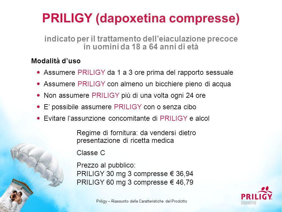 PRILIGY (dapoxetina compresse) Modalità d'uso  Assumere PRILIGY da 1 a 3 ore prima del rapporto sessuale  Assumere PRILIGY con almeno un bicchiere p