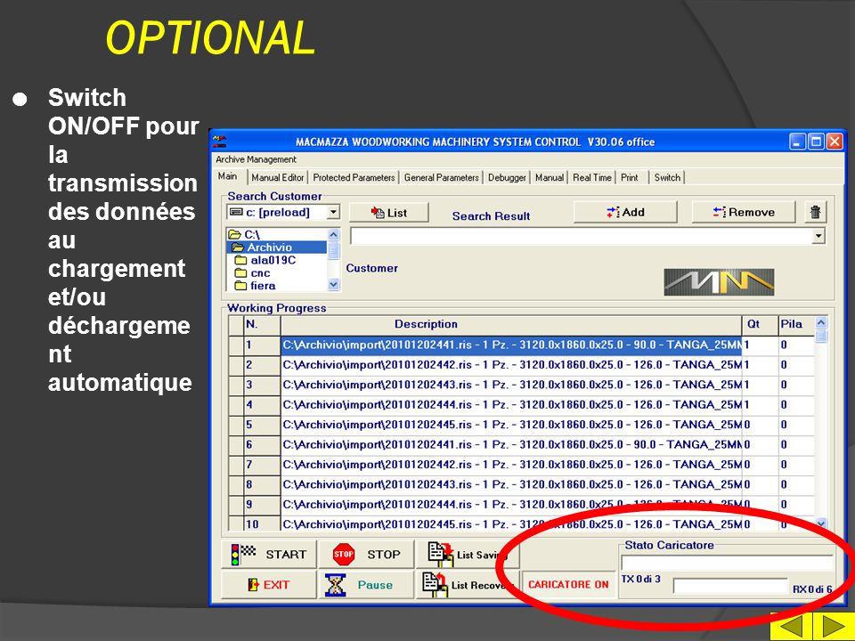 IMPRESSION DES DONNEES l Setup imprimante l Impression état machine l Impression des schémas en format texte l Mise aux archives des paramètres de configuration machine
