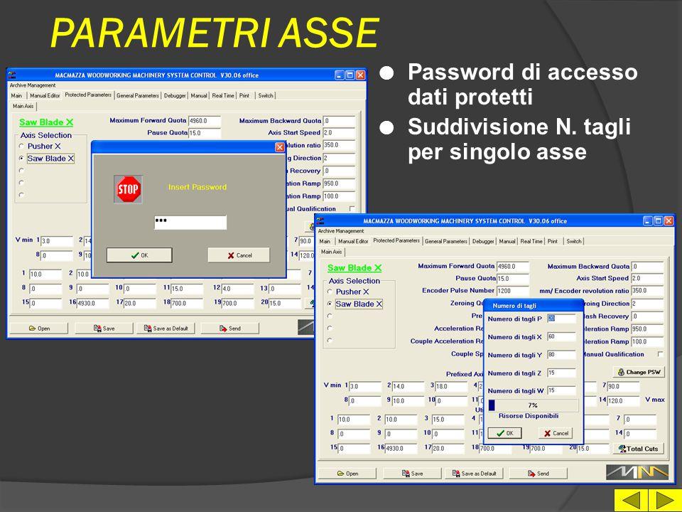PARAMETRI ASSE l Selezione asse l N.14 Velocità asse predefinite l N.20 Valori di configurazion e macchina l Archiviazione parametri