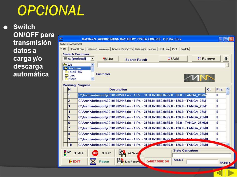 IMPRESION DATOS l Setup imprimedora l Impresión estado máquina l Impresión de los esquemas en formato texto l Archivación parametros de configuración máquina