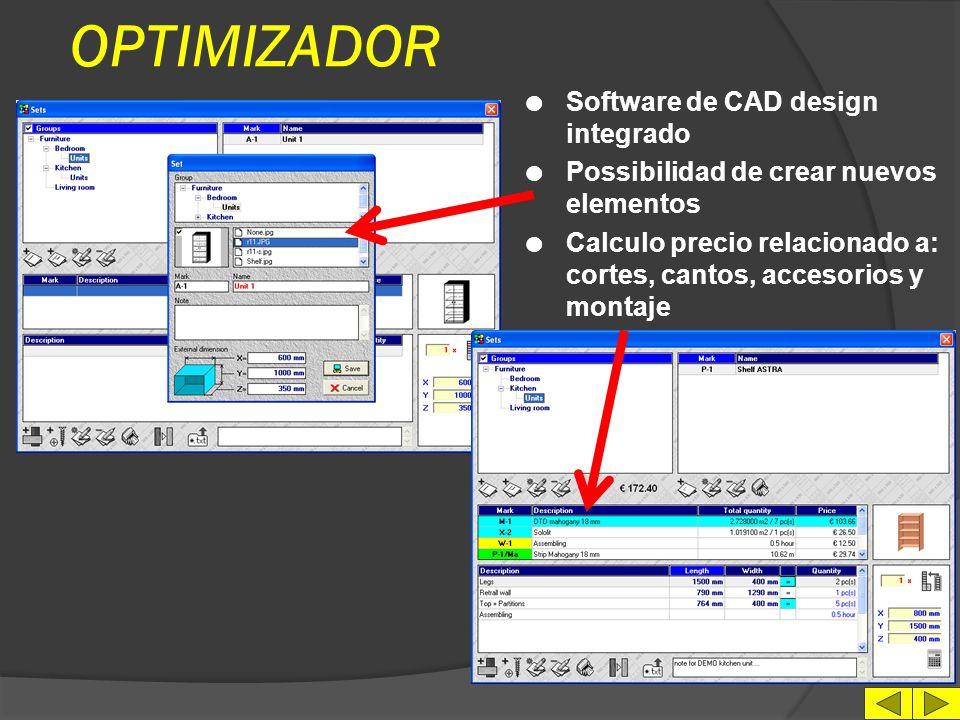 OPTIMIZADOR l Indicacion de cantos en los paneles l Imprecion de etiquetas l Eleccion de parametros de calculo