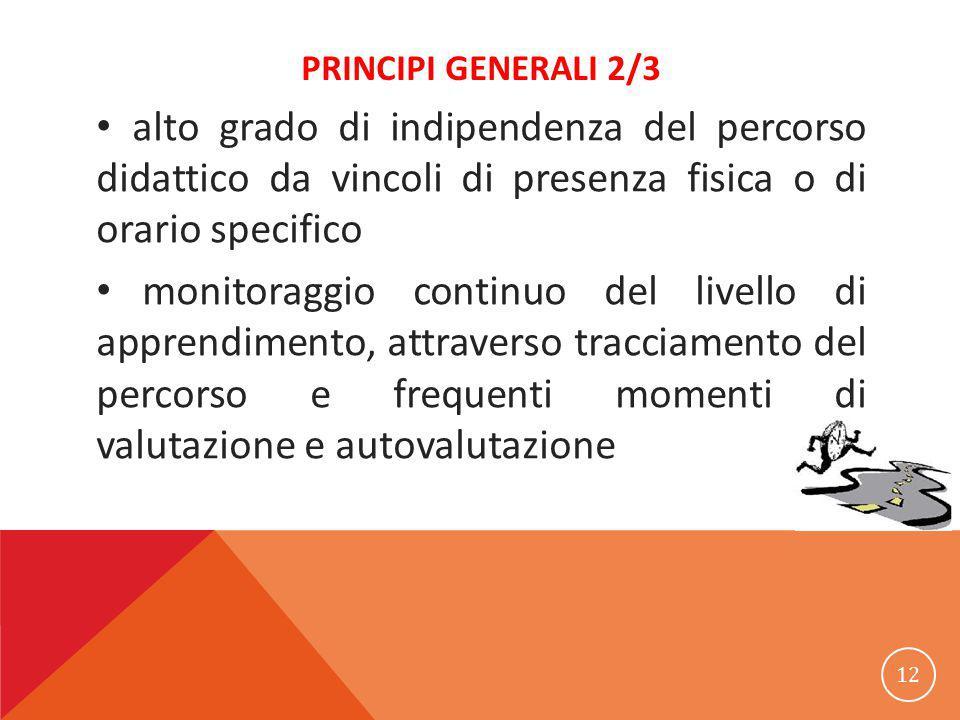 PRINCIPI GENERALI 2/3 alto grado di indipendenza del percorso didattico da vincoli di presenza fisica o di orario specifico monitoraggio continuo del