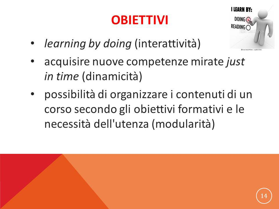 OBIETTIVI learning by doing (interattività) acquisire nuove competenze mirate just in time (dinamicità) possibilità di organizzare i contenuti di un corso secondo gli obiettivi formativi e le necessità dell utenza (modularità) 14