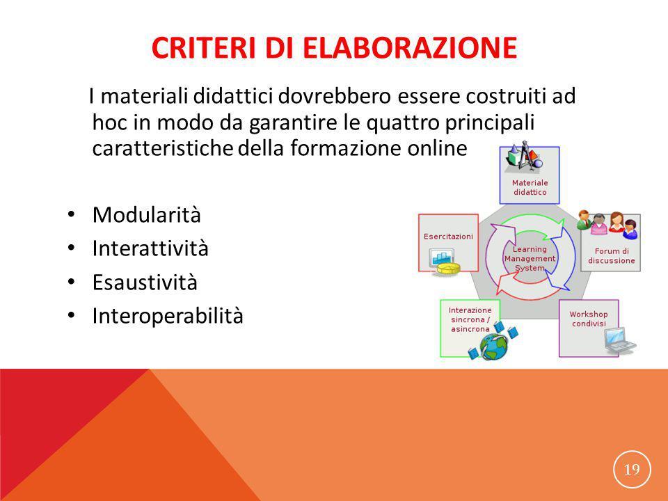 CRITERI DI ELABORAZIONE I materiali didattici dovrebbero essere costruiti ad hoc in modo da garantire le quattro principali caratteristiche della formazione online Modularità Interattività Esaustività Interoperabilità 19