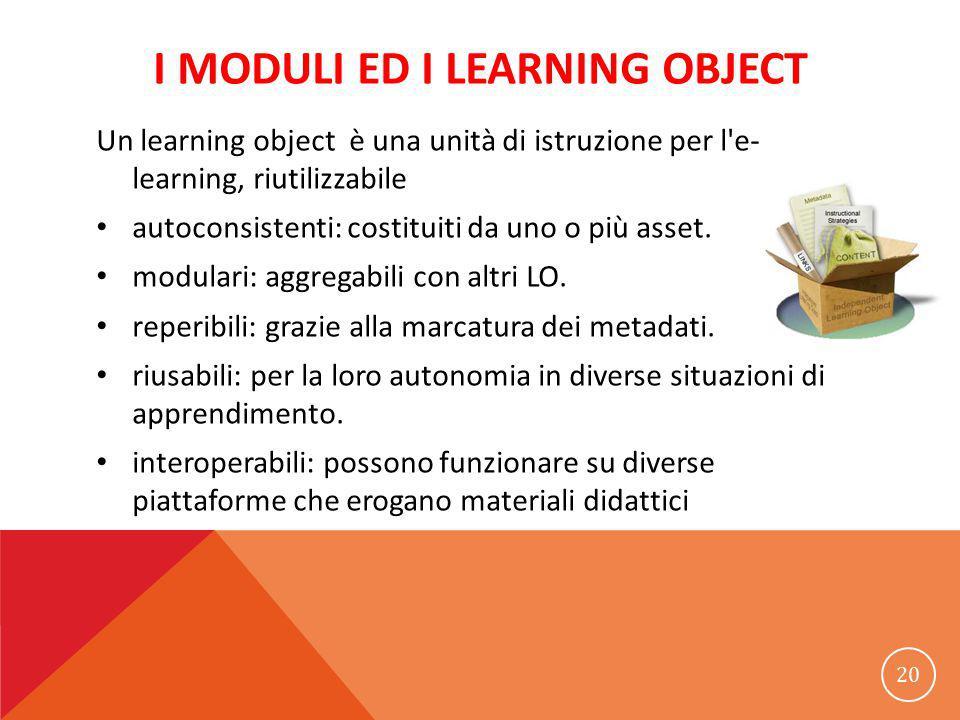 I MODULI ED I LEARNING OBJECT Un learning object è una unità di istruzione per l e- learning, riutilizzabile autoconsistenti: costituiti da uno o più asset.