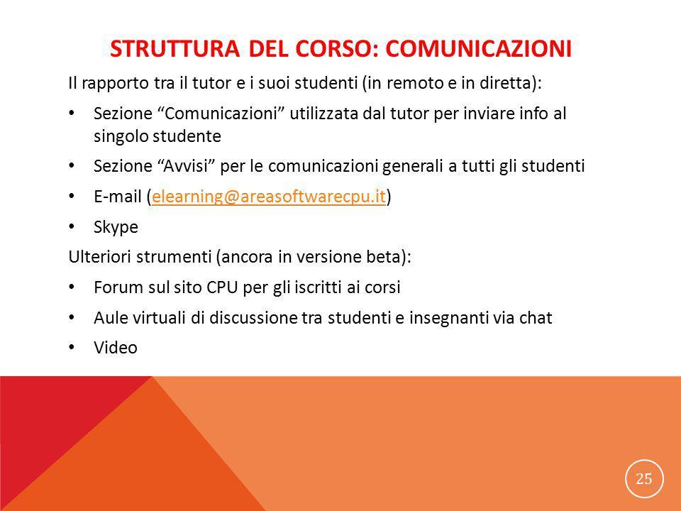 """STRUTTURA DEL CORSO: COMUNICAZIONI Il rapporto tra il tutor e i suoi studenti (in remoto e in diretta): Sezione """"Comunicazioni"""" utilizzata dal tutor p"""