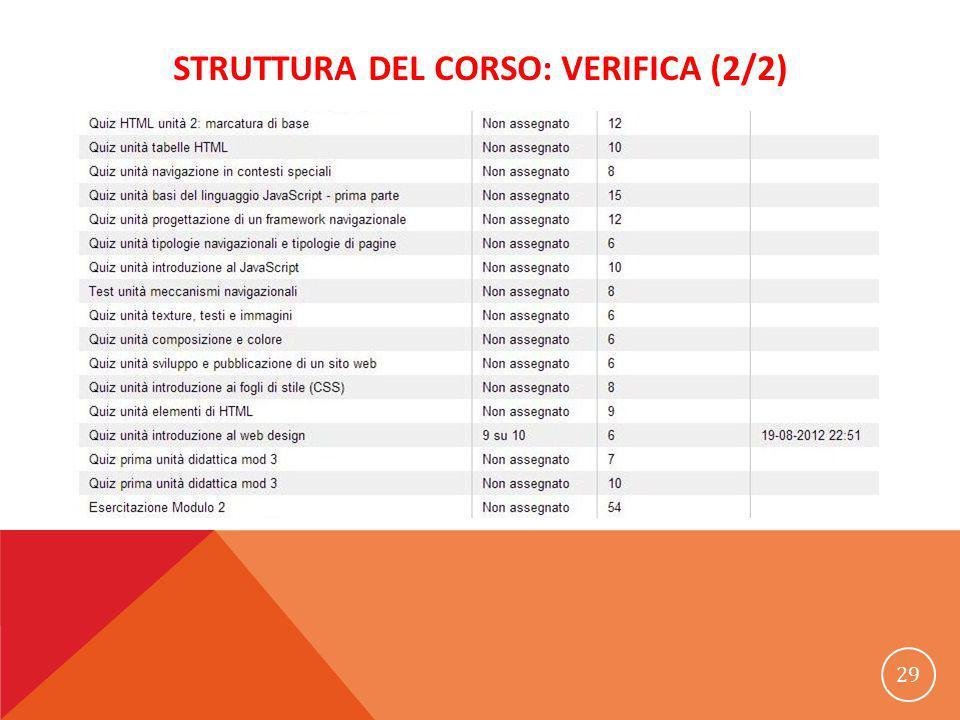 STRUTTURA DEL CORSO: VERIFICA (2/2) 29