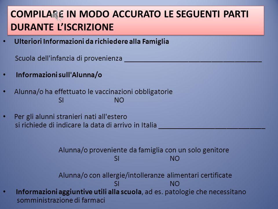 COMPILARE IL MODULO DI ISCRIZIONE Il modello di domanda d'iscrizione online è composto da due sezioni. Prima sezione: inserire i dati relativi ai geni