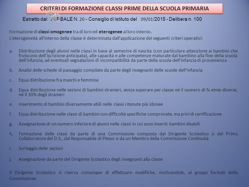 Criteri per l'Accoglimento delle Domande Estratto dal VERBALE N. 20 - Consiglio di Istituto del 09/01 /2015 - Delibera n. 103 ENTRO IL TERMINE PER LA