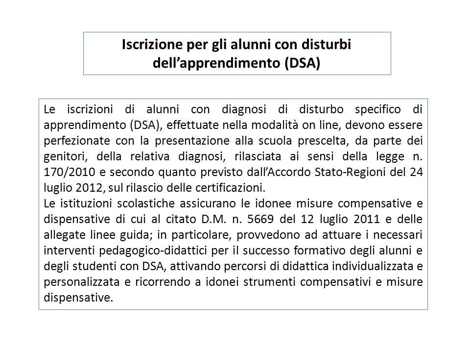 Iscrizione per gli alunni con disturbi dell'apprendimento (DSA) Le iscrizioni di alunni con diagnosi di disturbo specifico di apprendimento (DSA), eff