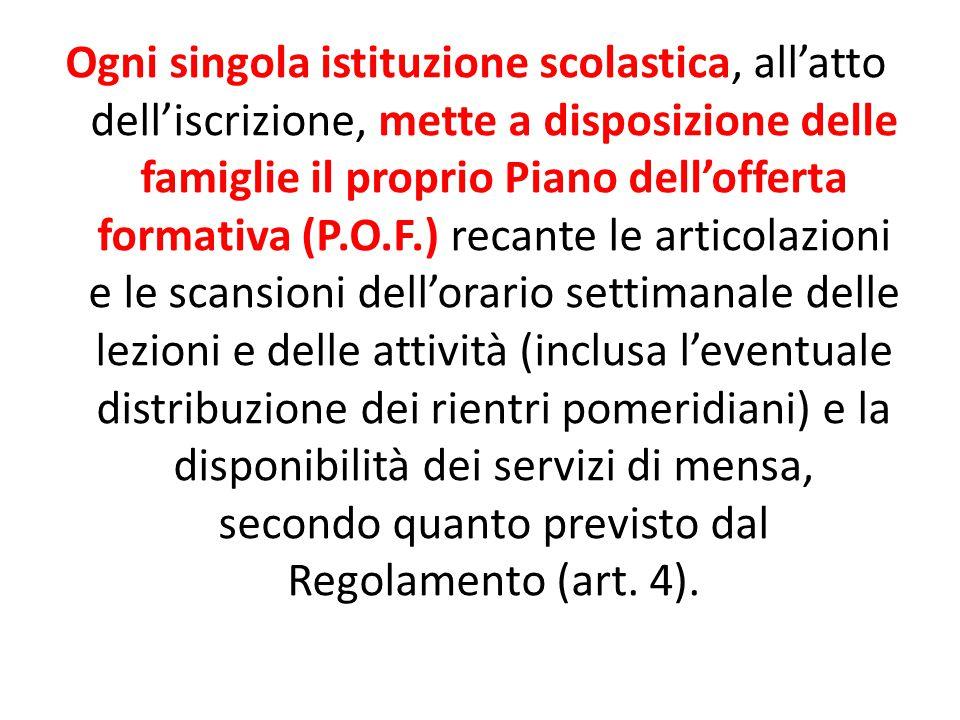 Ogni singola istituzione scolastica, all'atto dell'iscrizione, mette a disposizione delle famiglie il proprio Piano dell'offerta formativa (P.O.F.) re