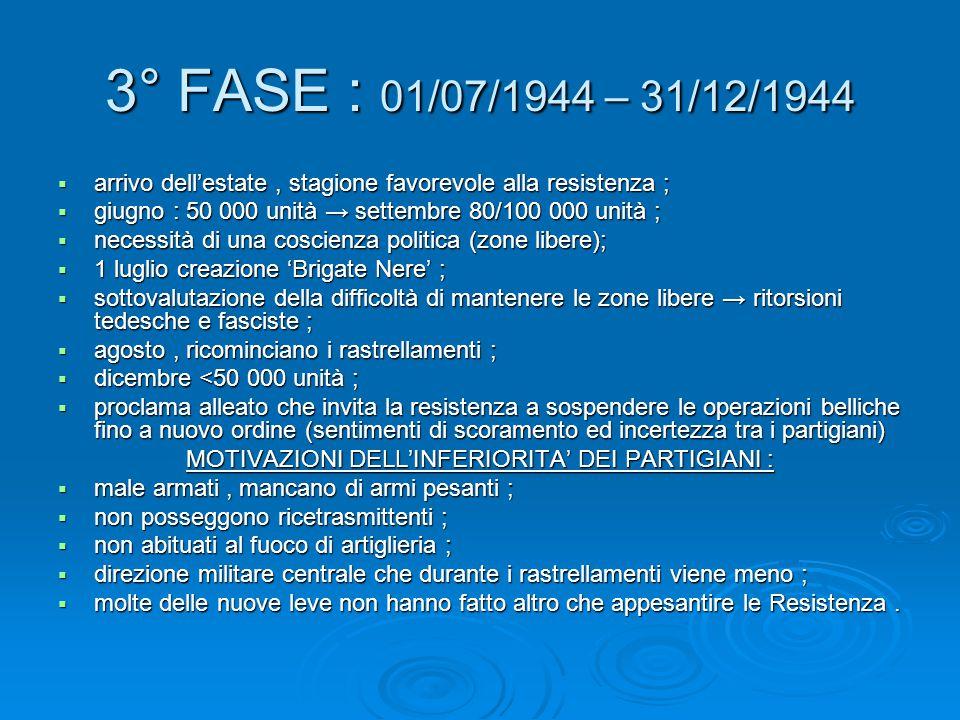 3° FASE : 01/07/1944 – 31/12/1944  arrivo dell'estate, stagione favorevole alla resistenza ;  giugno : 50 000 unità → settembre 80/100 000 unità ; 