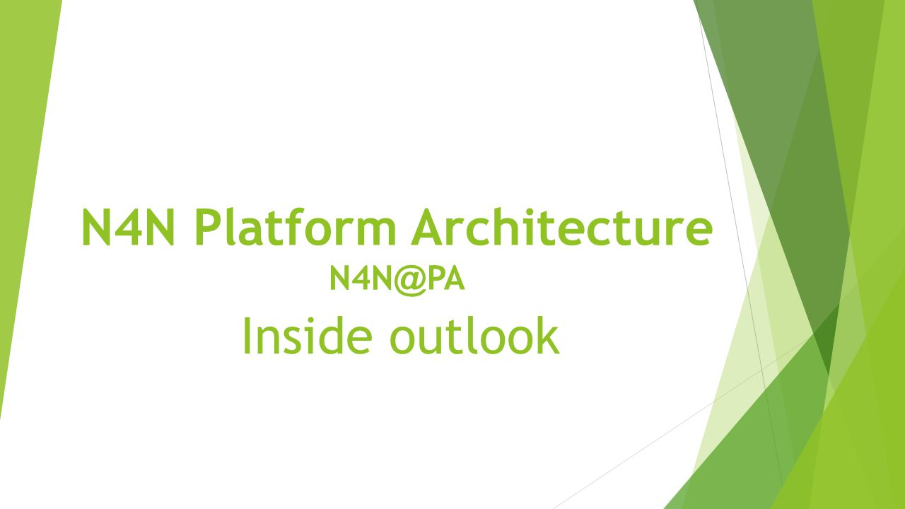 N4N Platform Architecture N4N @ PA Inside outlook