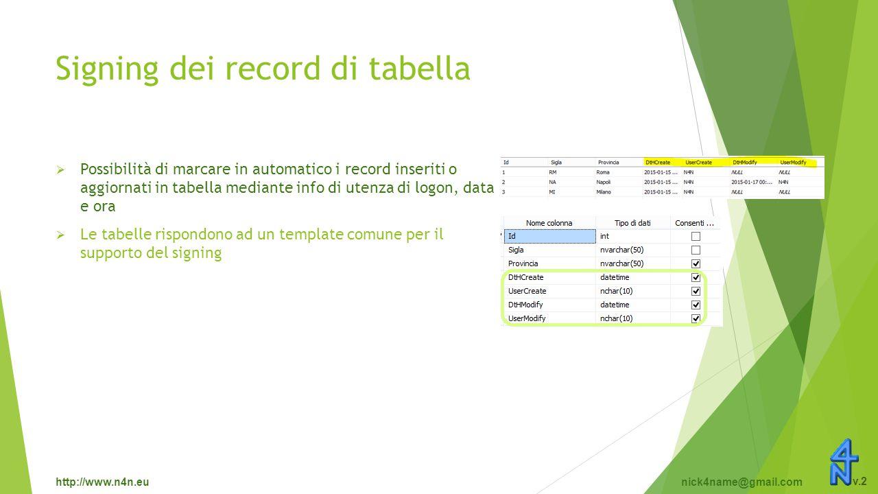 http://www.n4n.eunick4name@gmail.com v.2 Signing dei record di tabella  Possibilità di marcare in automatico i record inseriti o aggiornati in tabella mediante info di utenza di logon, data e ora  Le tabelle rispondono ad un template comune per il supporto del signing