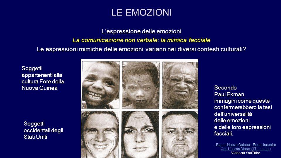 L'espressione delle emozioni La comunicazione non verbale: la mimica facciale Le espressioni mimiche delle emozioni variano nei diversi contesti cultu