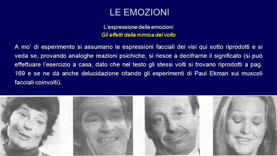 L'espressione delle emozioni Gli effetti della mimica del volto A mo' di esperimento si assumano le espressioni facciali dei visi qui sotto riprodotti