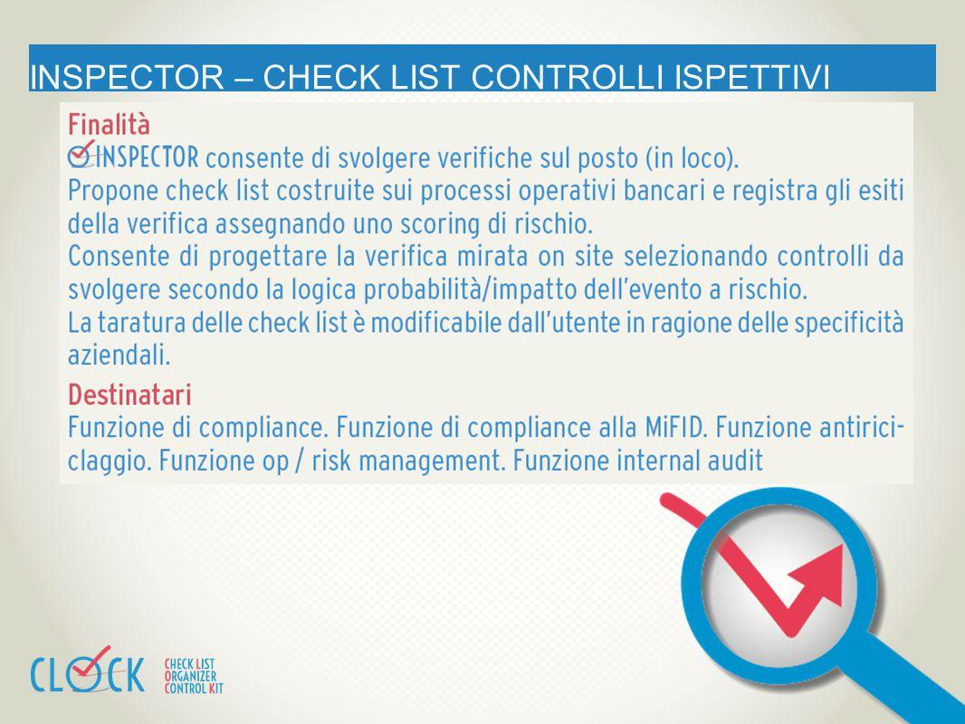 INSPECTOR – CHECK LIST CONTROLLI ISPETTIVI