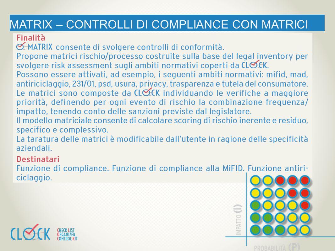 MATRIX – CONTROLLI DI COMPLIANCE CON MATRICI